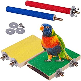 TAME 4 PCS Bird Perch Stand Toy, Wood Parrot Perch Stand Platform Paw Grinding Stick, Cage Accessories Exercise Toys Budgi...