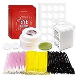 NAGARAKU Eyelash Extension Tools Kit | 200 Glue wipes | 50 Disposable Mascara Brushes Wands | 100 Microbrush | 60 pairs Under Eye Gel Pads | 3 Tapes Adhesive holder - Lash Supplies