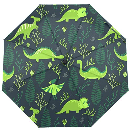ISAOA Automatischer Reise-Regenschirm für Kinder, Dinosaurier mit Blättern, kompakt, Winddicht