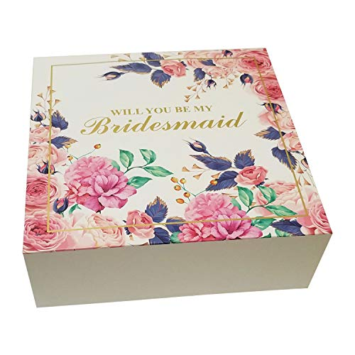 Bridesmaid Proposal Gift Box with Gold Foiled Text, Set of 5 Empty Boxes, Will You Be My Bridesmaid Gift and Wedding Present, Bridal Party Gifts Favors