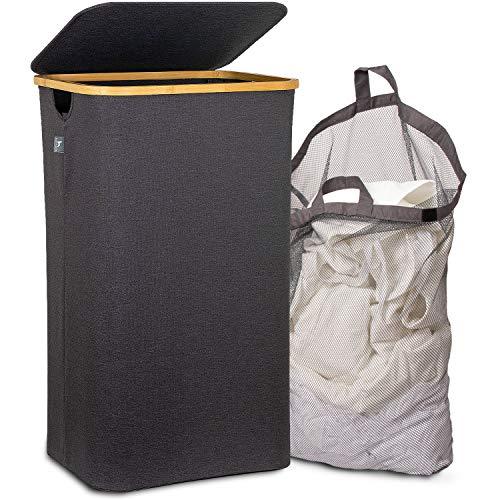 HENNEZ Wäschekorb mit Deckel HERAUSNEHMBARER WÄSCHESACK, Wäschekorb Bambus Wäschesammler Wäschesortierer Wäschetruhe Wäschebox Groß Wäschekorb faltbar Laundry Baskets 100L DUNKELGRAU