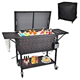 URRED 80 Quart Rolling Cooler Cart with Cutting Board, Portable Wicker Cooler with Wheels for Patio Backyard Pool Party, Outdoor Ice Chest with Bottle Opener and Protective Cover (Brown)