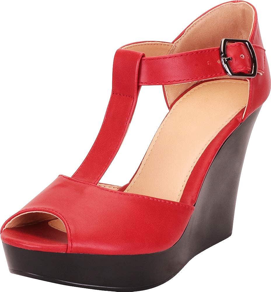 Cambridge Select Women's Peep Toe T-Strap Chunky Platform Wedge Sandal