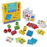 FORMIZON Cube en Bois Jouets Montessori, Puzzle D'expression Formation, Blocs de Construction de Puzzle en Bois pour Enfant d'âge Préscolaire (4 Farben)