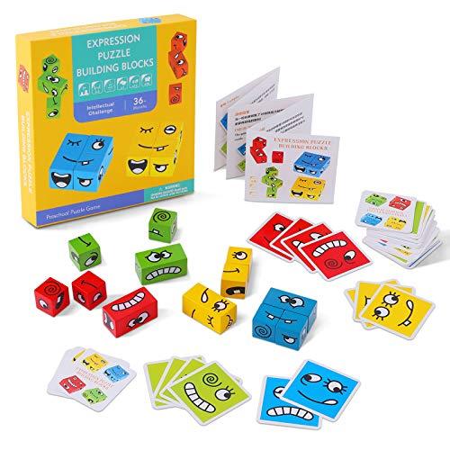 FORMIZON Emoji de Madera, Puzzle Building Cubes Emoji, Cubos de Cambio de Cara de Juguete, Rompecabezas Entrenamiento de Pensamiento Educativos Regalo para Preescolar (4 Colors)