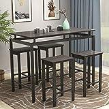 Merax 5PieceDiningTableSet WoodenKitchenTableand4ChairswithMetalLegs,Espresso