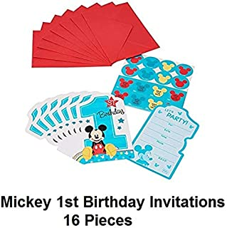 Disney Mickey Mouse Baby Boys 1st Birthday Party Invitations 16 Count with Save the Date Stickers