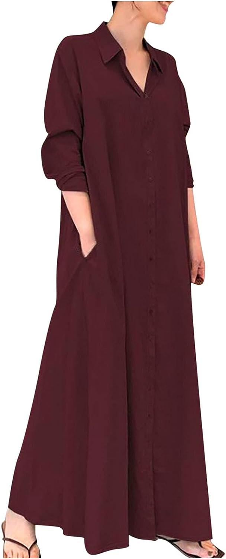Summer Dress for Women V-Neck Plus Size Shirt Dress Long Maxi Dress Casual Loose Botton Down Sundress with Pockets