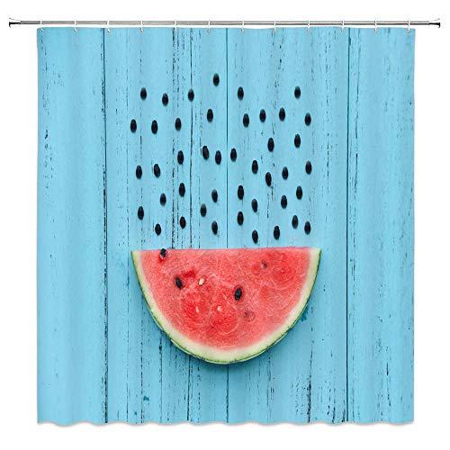 EdCott Wassermelone Duschvorhang Obst Thema Badezimmer Duschvorhang Blauer Hintergr& Wassermelone Duschvorhang Dekoration Kreative Individuellkeit Wassermelone Duschvorhang Set 72X72inch