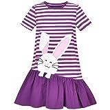 Sunny Fashion Ragazze Vestito Casual Viola Pasqua Coniglietto Uovo A Caccia Cotone Manica Corta 7 Anni