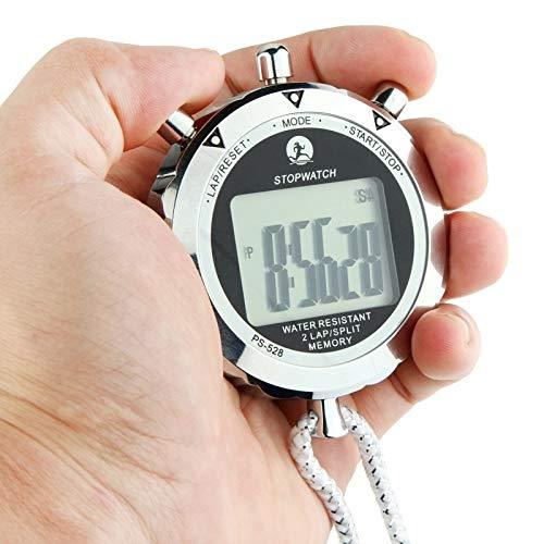 JSANSUI Countdown-Stoppuhr-Timer Metall Stoppuhr Profi Chronograph Handdigital LCD Sport Zähler Timer mit Gurt