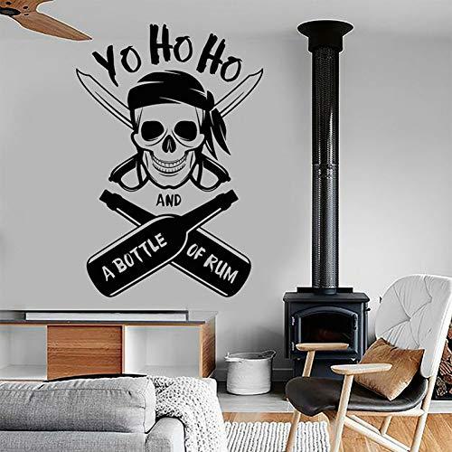 GUDOJK Muursticker Yo Ho Ho en een piraat schedel Rum fles l muur Stickers Home Decoratie nautische interieur Jongens kamer Kids kamer stickers muurschildering A187Woonkamer slaapkamer decoratie