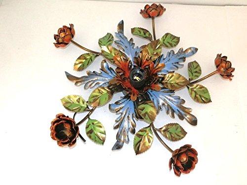 Grande Plafoniera in ferro battuto rifinita vari colori ad una luce 50 cm