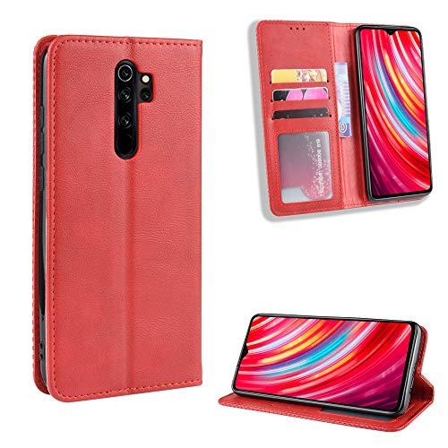 LODROC Xiaomi Redmi Note 8 Pro Hülle, TPU Lederhülle Magnetische Schutzhülle [Kartenfach] [Standfunktion], Stoßfeste Tasche Kompatibel für Xiaomi Redmi Note8 Pro - LOBYU0101190 Rot