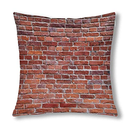 QUEMIN Vintage Old Brown Brick Wall Decor Decorative Cushion Pillow Case Cover, Square Zippered Pillowcase Protector 18x18 Inch