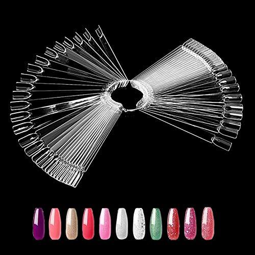 Ealicere 50 Stück Transparent Nail Art Tips Stick,Nagel Salon Übungen Display Nail Tips für Display und Praxis