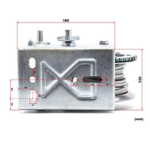 WilTec Treuil à Câble Manuel de Halage Charge Max. 900kg 10m Rapport de transmision 4.1 8:1 Bateau Auto