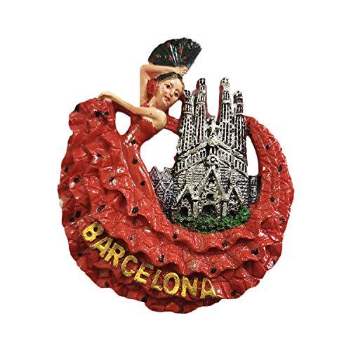 Imán de nevera 3D para bailarín de flamenco Barcelona España, recuerdo de...