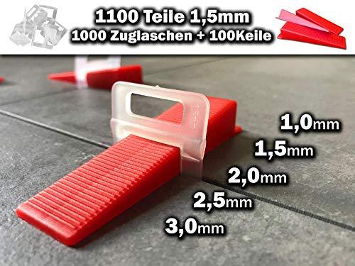1000 Laschen 100 Keile 1,5mm - Das GÜNSTIGE Fliesen Nivelliersystem 1mm-3mm - Zange Keile Zuglaschen individuell zusammenstellen - Mega-Auswahl an Variationen (1000Laschen 100Keile 1,5mm)