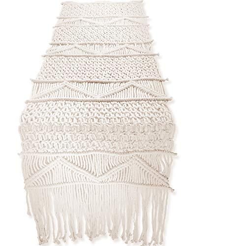 "SnugLife Macrame Table Runner (86"" X 13"") Long | Boho Table Runner | Wedding Table Decor | Vintage Farmhouse and Bohemian Dining Room Style | Off-White"