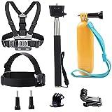 tekcam 4en 1correa de cabeza de cámara de la acción de accesorios kits Pecho Arnés Cinturón mango Monopod flotante Mano Grip para Crosstour/apeman/Akaso 4K bajo el agua impermeable cámara de acción
