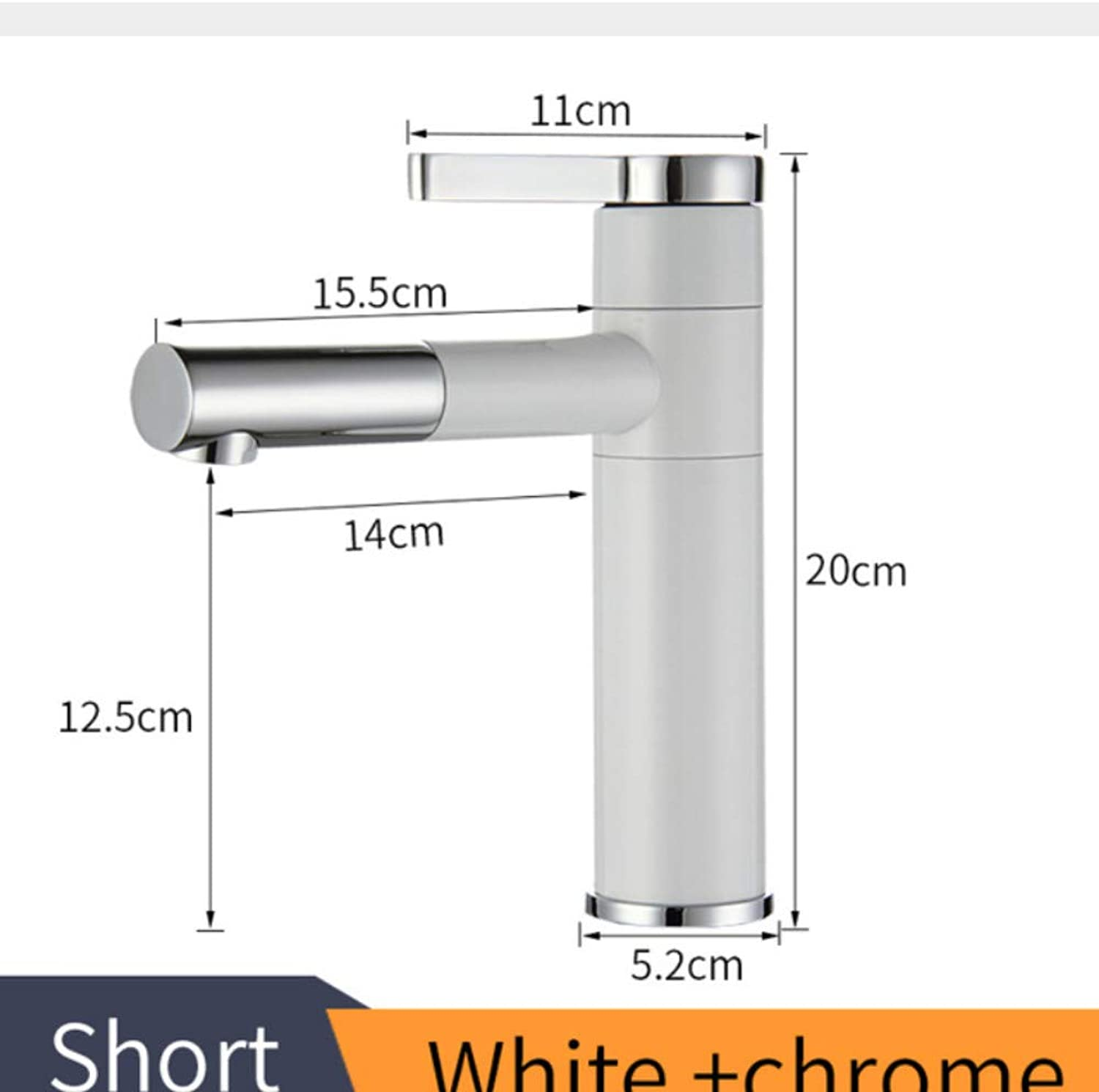 Ganjue Basin Mixer Tap 360 Degree redate Type Basin Faucet White and Silver Chrome Finish Bathroom Faucets Single Hand Bathroom,2