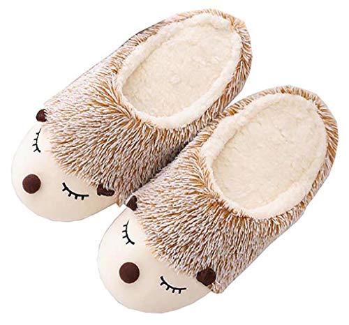 Women's Cute Animal Warm pelzigen Igel Hausschuhe, Memory Foam Cotton Hausschuhe, Anti-Slip Soft Fleece Plüsch Hausschuhe Indoor (40/41 EU)