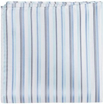 Matching Tie Guy 2968 B8 PS - 12 x 12 in. Matching Pocket Square - White With Three Different Blue Stripes