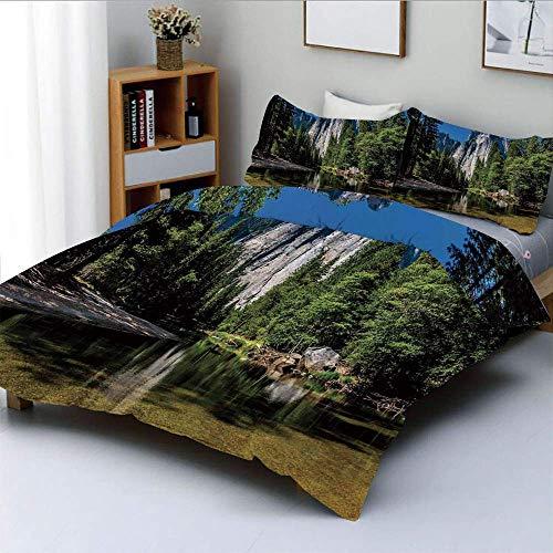 Qoqon Bettbezug-Set, große Granit-Klippe, umgeben von Trees River unter Clear Sky Wild Beauty SceneryDekoratives 3-teiliges Bettwäscheset mit 2 Kissenbezügen, grün-blau, Kinder