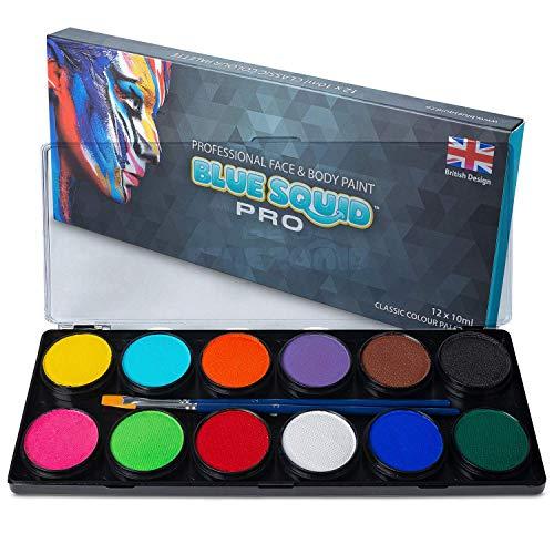 Kinderschminke Set Face Paint - von Blue Squid PRO 12x10g Klassische Farbpalette, Professionelle...