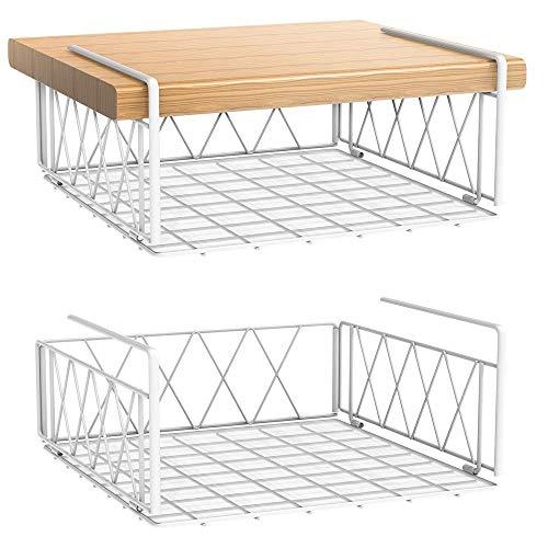 Bextsrack Under Shelf Basket 2 Pack Wire Under Cabinet Storage Shelf with Plastic Pad Hanging Organizer Baskets for Kitchen Pantry White