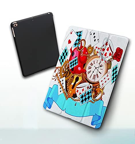 Funda para iPad 9,7 Pulgadas, 2018/2017 Modelo, 6ª / 5ª generación,Alicia en el país de Las Maravillas diseño Loco Smart Leather Stand Cover with Auto Wake/Sleep