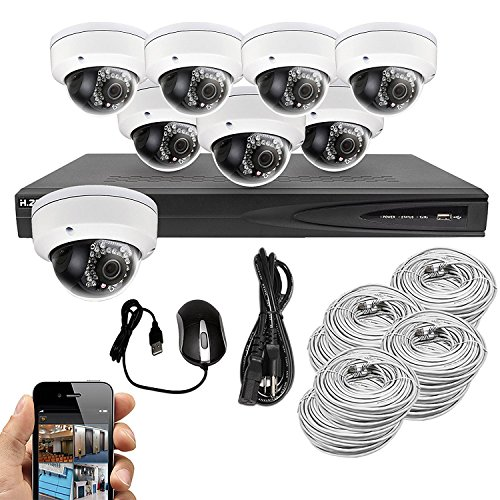 Best Vision Systems 8CH 2TB IP NVR Security Surveillance System with (8) 2MP PoE Outdoor Vandalproof Dome Cameras