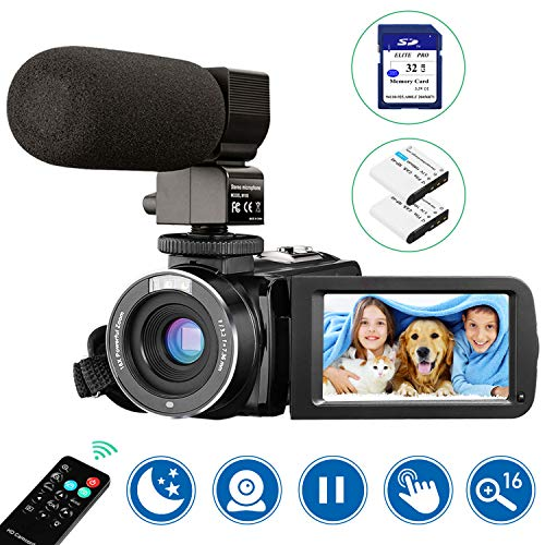 Video Camera Camcorder with Microphone Webcam Aasonida Digital YouTube Camera with IR Night Vision 3#039#039 IPS Touch Screen Vlogging Camera with 32GB SD Card Remote Control 16X Digital Zoom