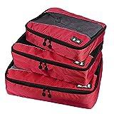 Bolsa de Viaje al Aire Libre 3 PC/Sistemas Multi-función de Fútbol Textura 210D poliéster Impermeable Ropa Interior Ropa de Viaje Bolsa de Almacenamiento (Negro) (Color : Rojo)