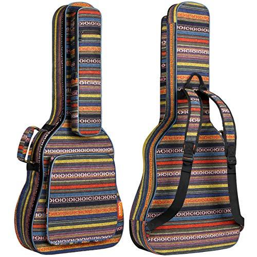 CAHAYA Funda para Guitarra Estilo Bohemia Bolsa Guitarra Clasica Acústica Acolchada de 15,6mm con 3 Bolsillos para Guitarra de 40 41 42 Pulgadas