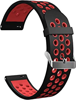 DOMESKIN Universal Watch Band, 18mm, 20mm, 22mm Width Soft Silicone Watch Strap Replacement Wristband for Men Women (Black+Red, 18mm)