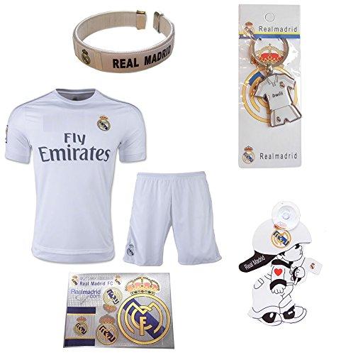 Isport Regalos® # 7/Bale # 11Real Madrid casa niños Fútbol Jersey y pantalones cortos de fútbol 6en 1kit de regalo de ventilador de fútbol jóvenes tamaños YS/YM/YL