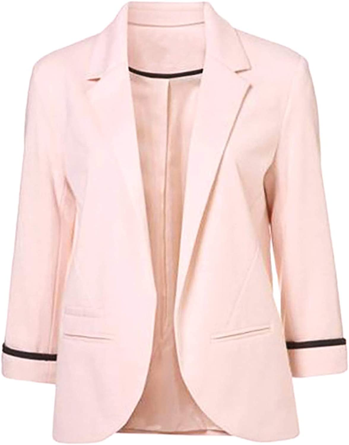 Kongsta Autumn Slim Fit Women Candycolor Three Quarter Sleeve Suit Solid Ponte Rolled Jackets Coat Ladies Blazer Coat Fashion Pink L