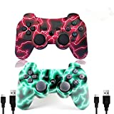 [2 Pack] Wireless Double Vibration Game Controller Bluetooth Gamepad Remote for PS3 Playstation 3 [Gift 2 Charging-Cable] (Red Lighting)