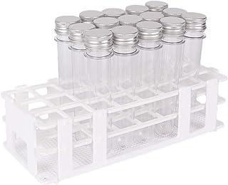 لوله های آزمایشگاهی 15 بسته با قفسه - Buytra 40ml لوله پلاستیکی تمیز و پلاستیکی لوله آب نبات Gumball با کلاه های 25x140 mm - دارای 24 لوله سوراخ قابل جدا شدن لوله قفسه تست برای لوله های 25mm