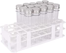 15 Pack Test Tubes with Rack - Buytra 40ml Clear Plastic Test Tube Gumball Candy Tube with Caps 25x140mm - 24 Holes Detachable Test Tube Rack Holder for 25mm Tubes