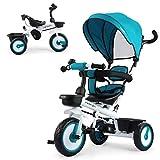 Fascol Tricycle 4 en 1 tricycle pour enfants Tricycle Tricycle avec repose-pieds pliable, pare-soleil et barre de poussée réglable de 12 mois à 5 ans (Bleu)