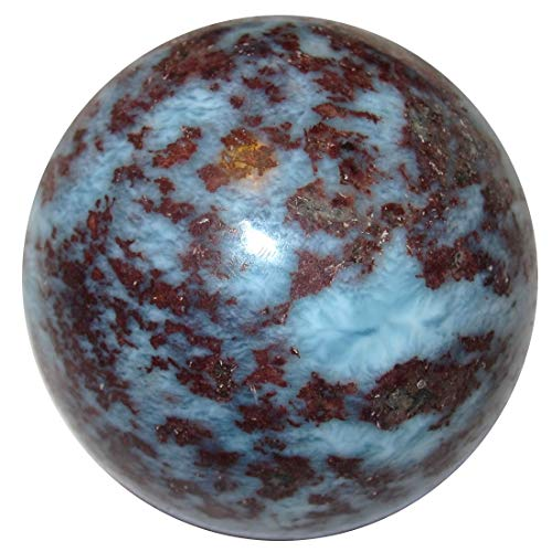 Satin Crystals Larimar Sphere Blue Caribbean Crystal Healing Ball Calming Throat Chakra Stone Rare- Dominican Republic C50 (Fire in The Sky, 1.6 Inch)