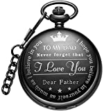 LYMFHCH Mens Black Unique Pocket Watch Personalized Pattern Steampunk Retro Vintage Quartz Roman Numerals Pocket Watch with Chain Christmas Birthday Gifts Fathers Day