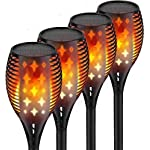 Nekteck Outdoor Torch Light with Star Design, Flickering Dancing Flames, Waterproof Solar Powered LED Landscape Decoration for Yard Pool Patio Garden Pathway Walkway 4 Pack