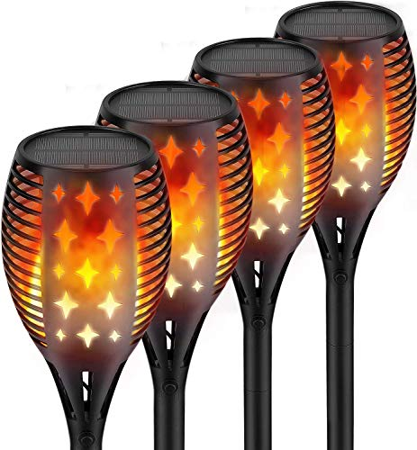 Nekteck Outdoor Torch Light with Star Design (4 Pack-96 LED), Flickering Dancing Flames, Waterproof Solar Flame Lights Decoration for Yard Pool Patio Garden Pathway Walkway