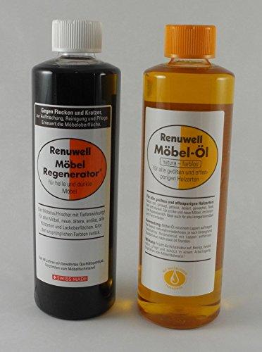 Renuwell Spar-Set Möbel Öl 500 ml + Regenerator 500 ml