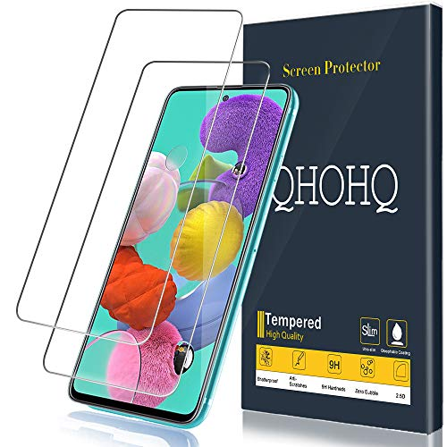 QHOHQ Protector de Pantalla para Samsung Galaxy A51 4G/Galaxy A51 5G Cristal Templado, [2 Piezas] [Dureza 9H] Sin Burbujas HD Transparente Anti-Arañazos Vidrio Templado