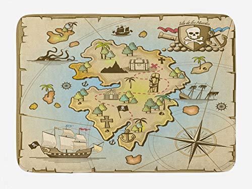 "Lunarable Island Map Bath Mat, Cartoon Treasure Island Pirate Ship Chest Kraken Octopus Nautical Kids Design, Plush Bathroom Decor Mat with Non Slip Backing, 29.5"" X 17.5"", Pale Beige"